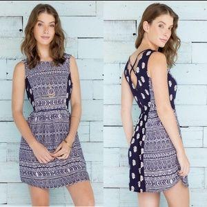 Francesca's Alya Navy Printed Dress Small